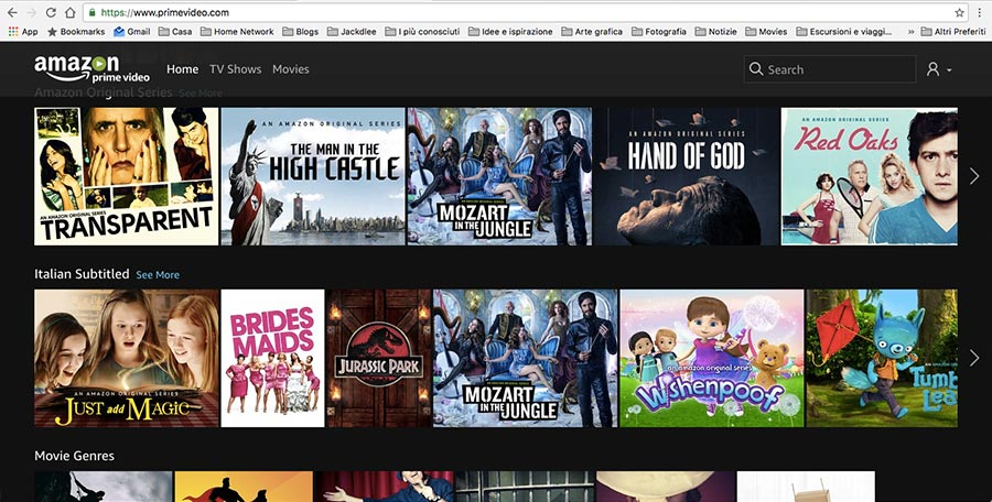 Prime video, contenuti disponibili