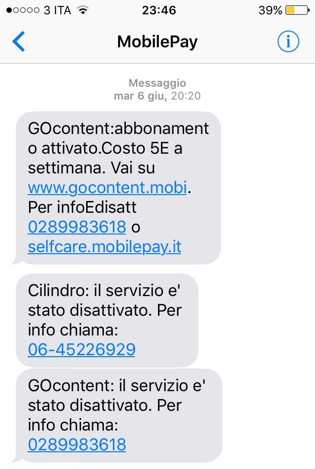 SMS MobilePay disattivazione