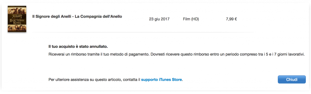 Rimborso acquisti Apple - acquisto annullato