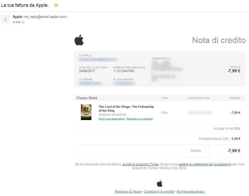 Rimborso acquisti Apple - Email rimborso