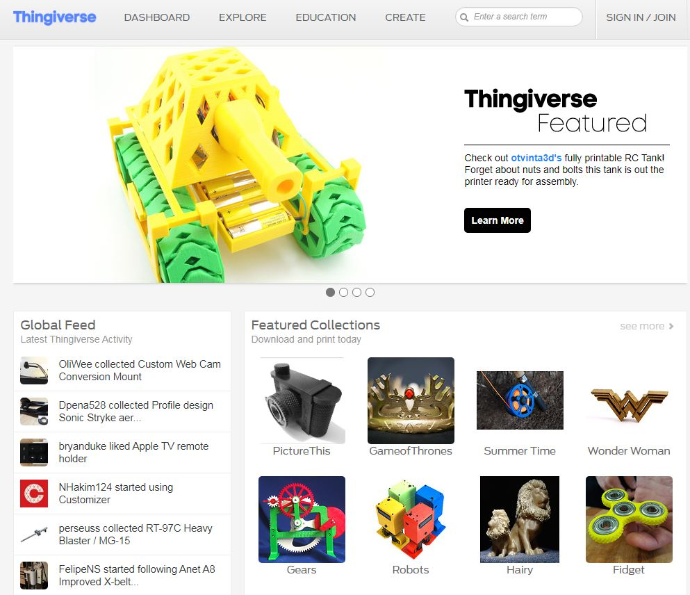 stampa 3d online - modelli thingiverse